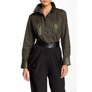 NWT Nordstrom TOV Holy Faux Leather Trim Shirt Top